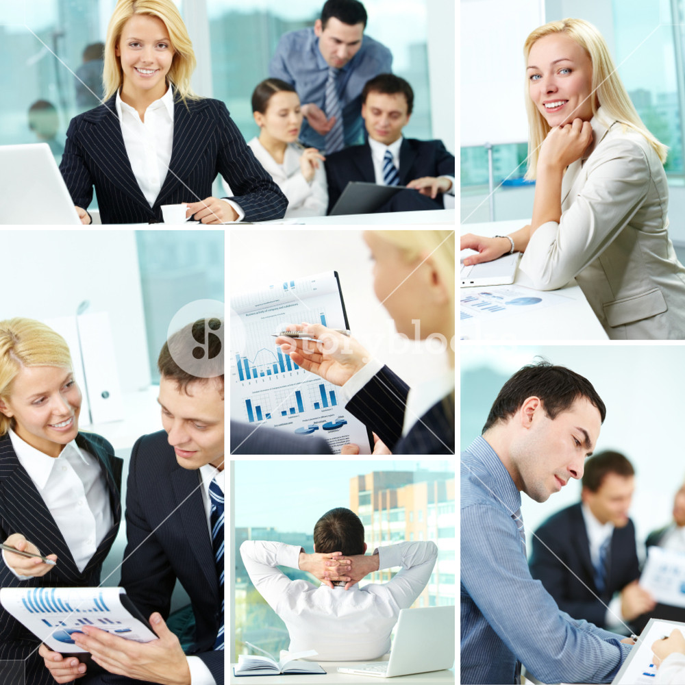 Collage of business people at work in office