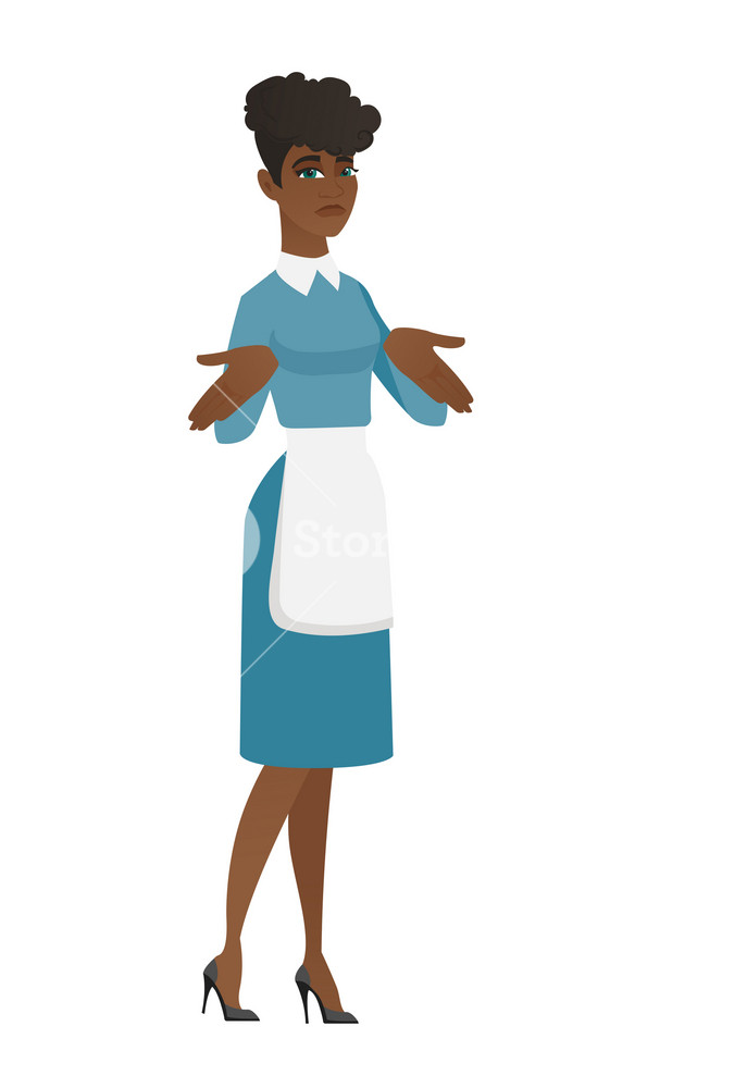 Confused african cleaner in uniform shrugging her shoulders. Full length of young doubtful cleaner gesturing hands and shrugging shoulders. Vector flat design illustration isolated on white background
