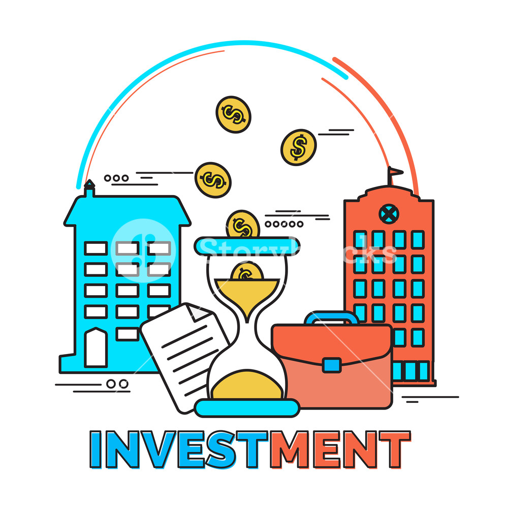 Creative colorful elements for Investment and Savings concept.