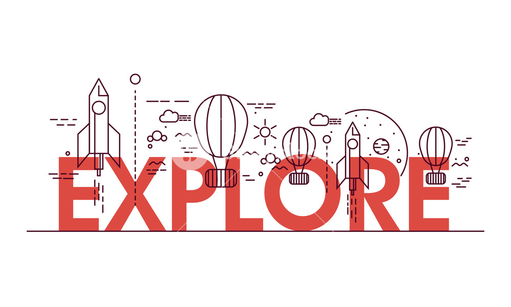 Creative elements like rocket or hot air balloons for Explore.