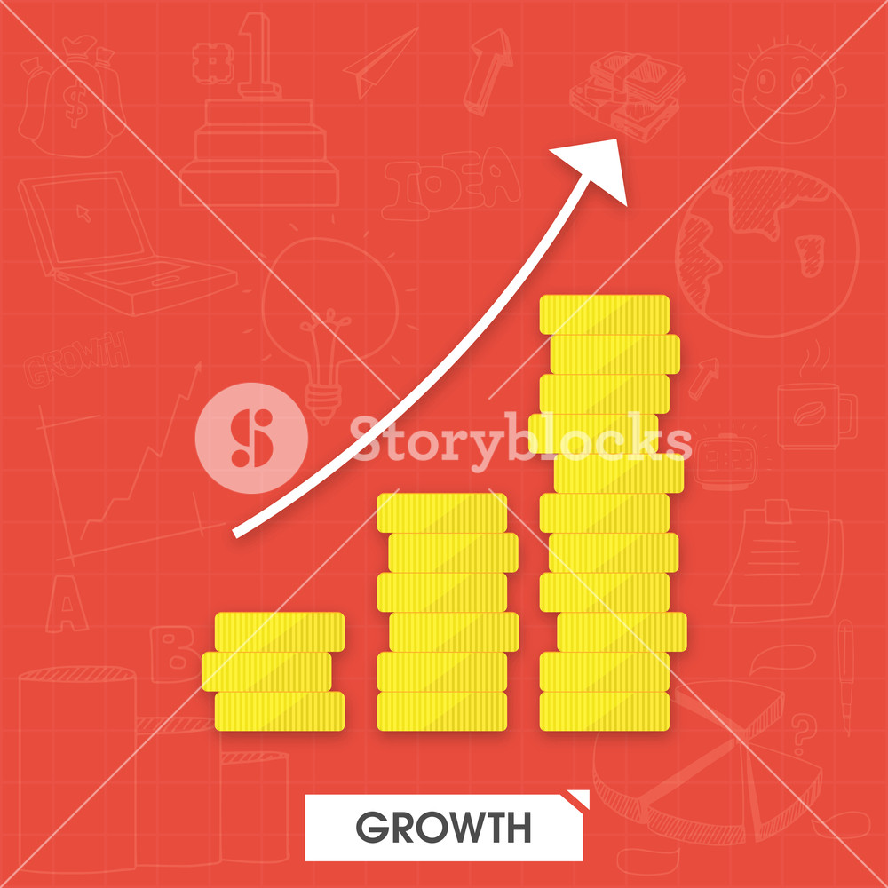 Creative infographic layout with stacks of gold bricks showing Business Growth.