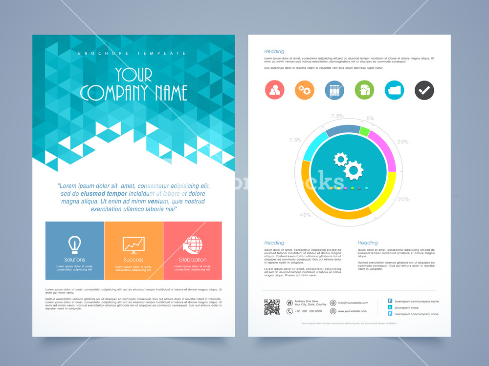Creative two page business flyer, template or brochure design with different infographics.
