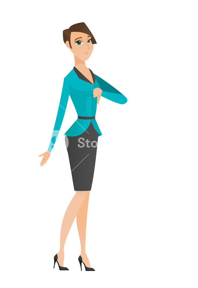 Disappointed caucasian business woman with thumb down. Full length of business woman showing thumb down. Business woman with thumb down. Vector flat design illustration isolated on white background.