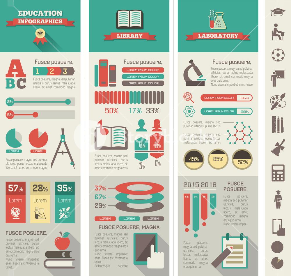 Education Infographic Elements plus Icon Set. Vector.