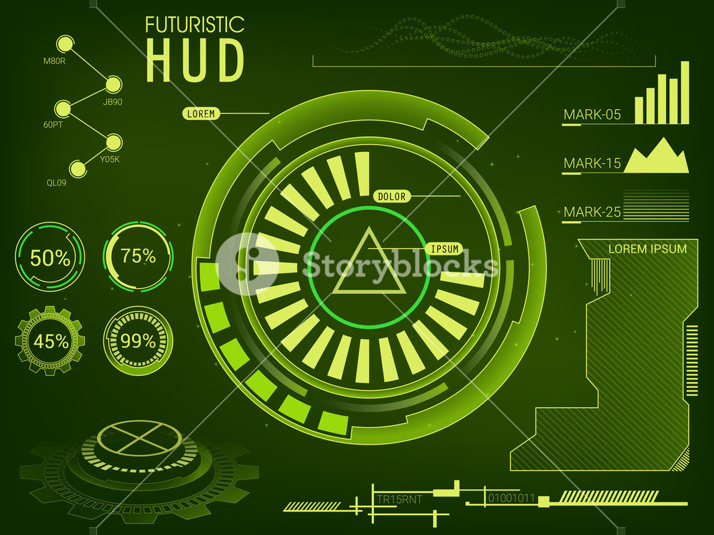 Futuristic user interface HUD UI, UX design, Big set of infographic elements, Abstract green virtual background with statistical bars, graphs and charts, Creative Business vector illustration.