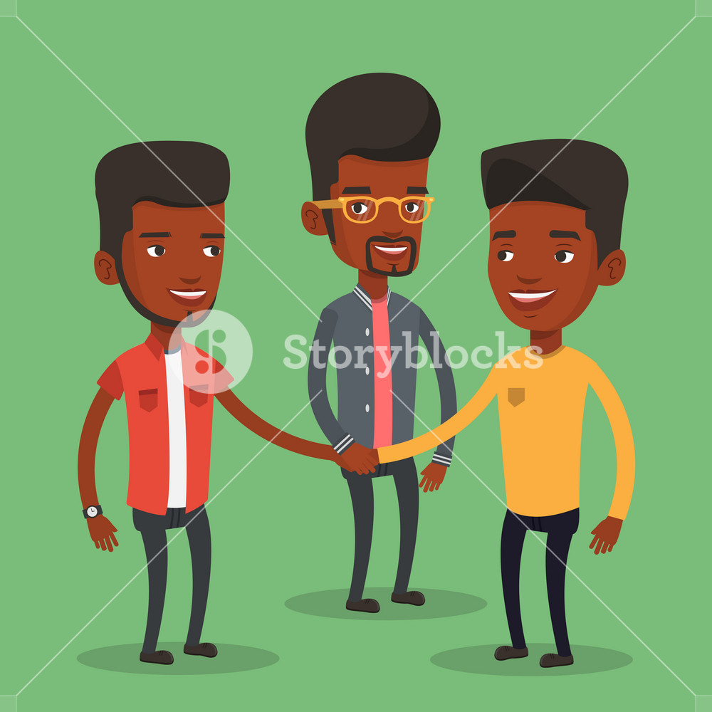 Group of african-american businessmen joining hands. Business people putting their hands together. Businessmen stacking their hands. Partnership concept. Vector flat design illustration. Square layout