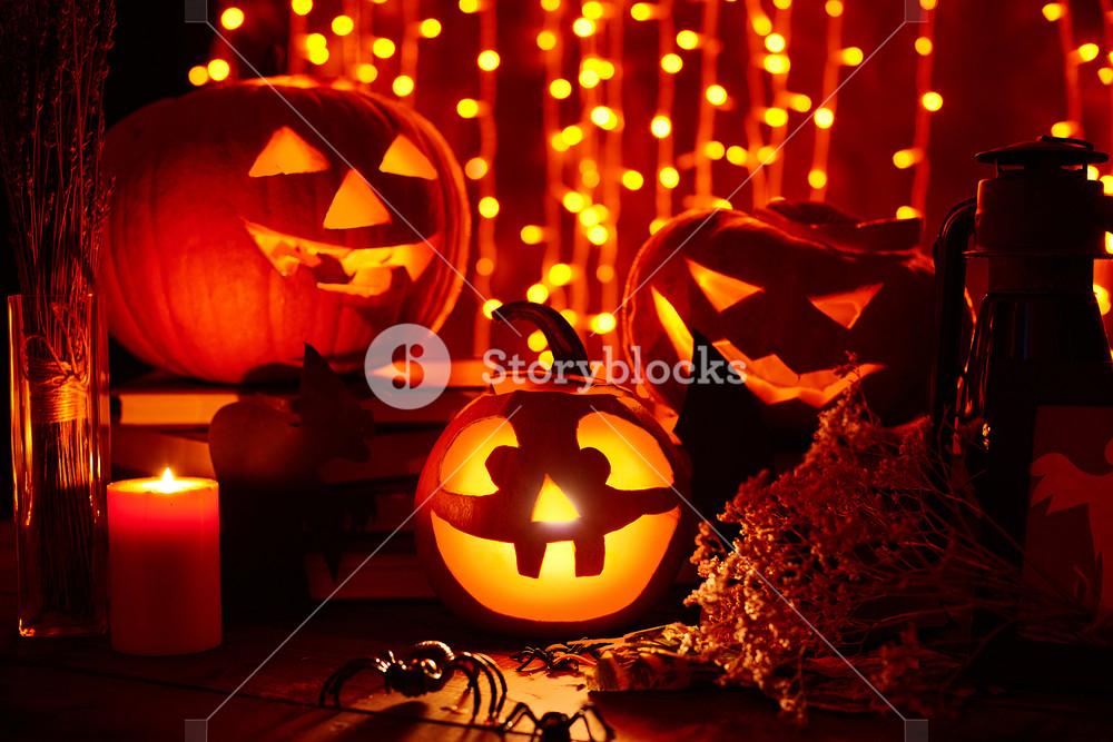 Halloween lights in the dark