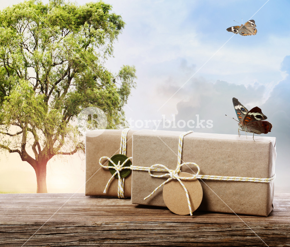 Handmade gift boxes on a fantasy landscape with butterflies