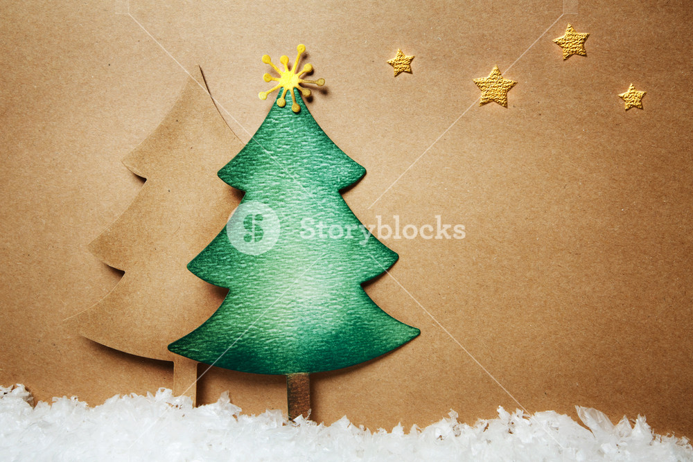 Handmade paper craft Christmas tree and snow with stars
