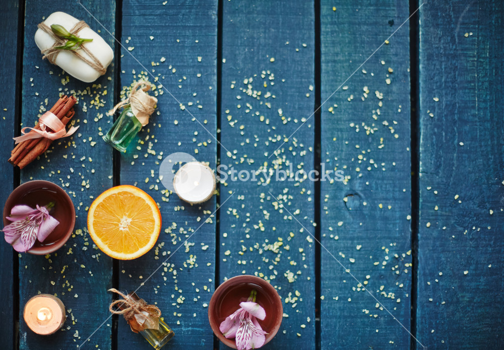 High angle view of table with objects for aromatherapy
