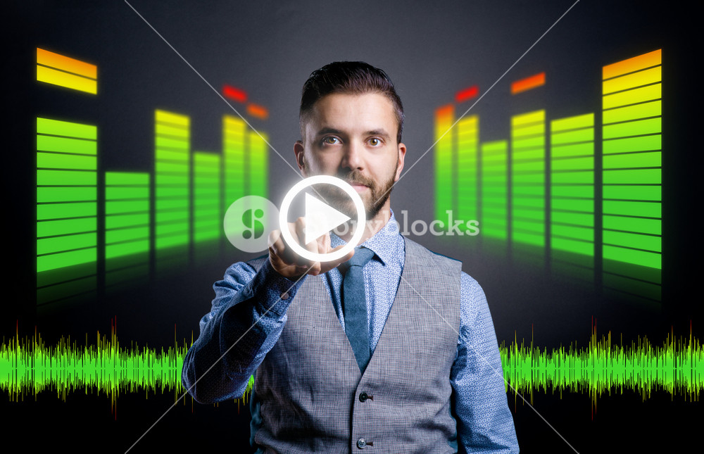 Hipster businessman working on digital virtual screen. Isolated on black background.