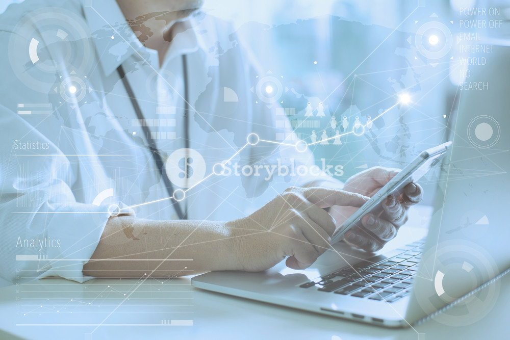 Man Use Smartphone Hand,touch screen.Project Manager Researching Process.Global Strategy Virtual Icon.Innovation Graphs Interface.Analyze market stock.