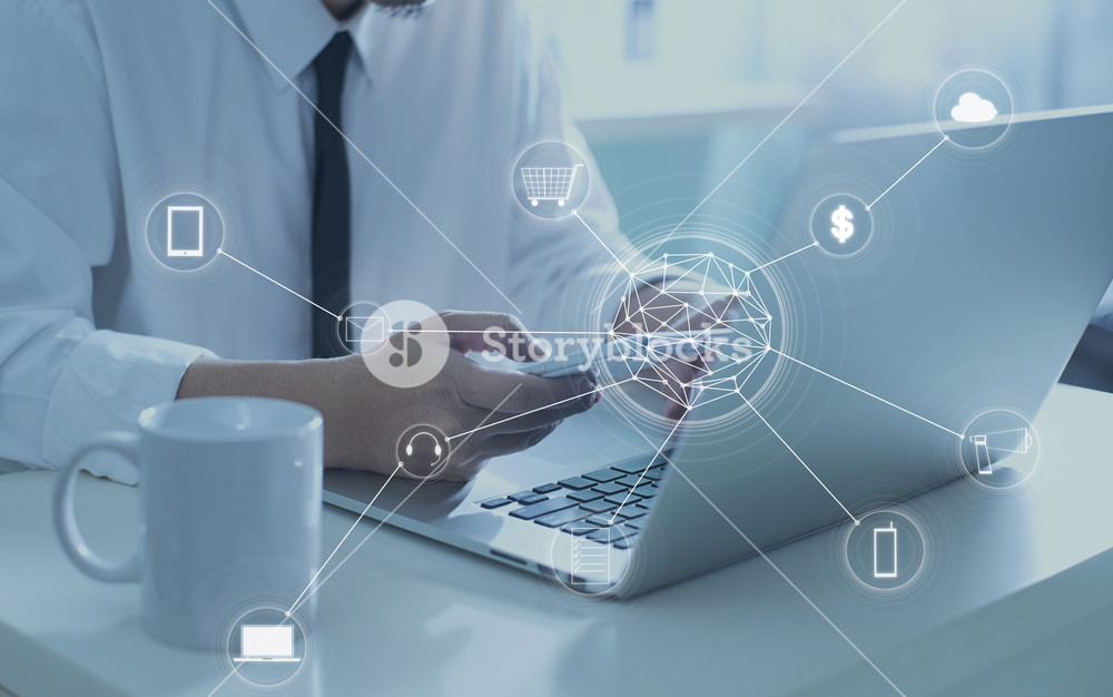 Man using digital device make payments online shopping and icon customer network connection on screen.