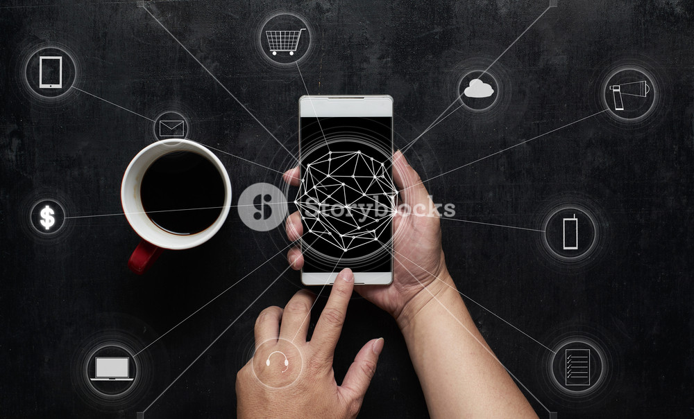 Man using digital device make payments online shopping and icon customer network connection on screen.Wooden black office desk table on top view .