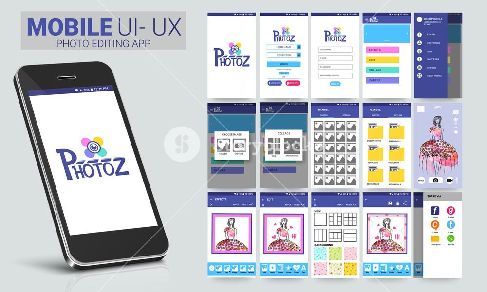 Photo Editing Mobile Apps Material Design Ui Ux Gui Template Layout Including Sign Up Menu User Profile Choose Image Collage Cancel Effects Edit And Share Screens Royalty Free Stock Image Storyblocks