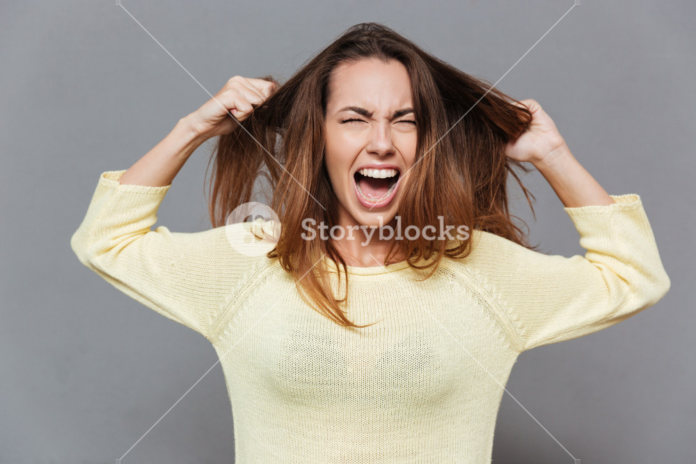 Portrait of a frustrated angry woman screaming out loud and pulling her hair out isolated on the gray background