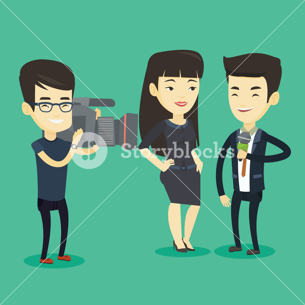 Professional asian reporter with microphone interviews a business woman. Operator filming interview. Journalist making an interview with businessman. Vector flat design illustration. Square layout.