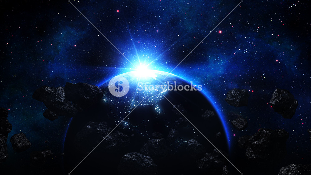 Realistic Earth attacked by Asteroids