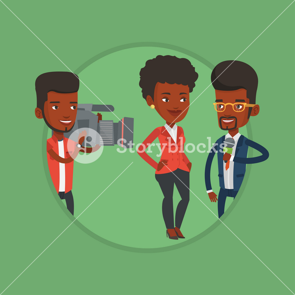 Reporter with microphone interviews a woman. Young operator filming interview. Journalist making interview with businesswoman. Vector flat design illustration in the circle isolated on background.
