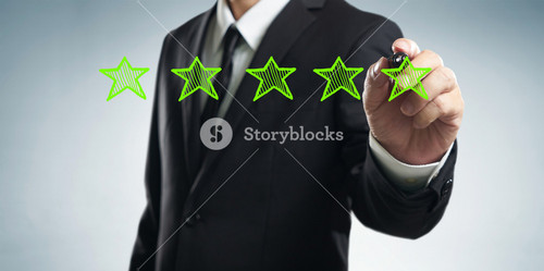 Review, increase rating, performance and classification concept. Businessman draw five green stars to increase rating of his company, blank background.