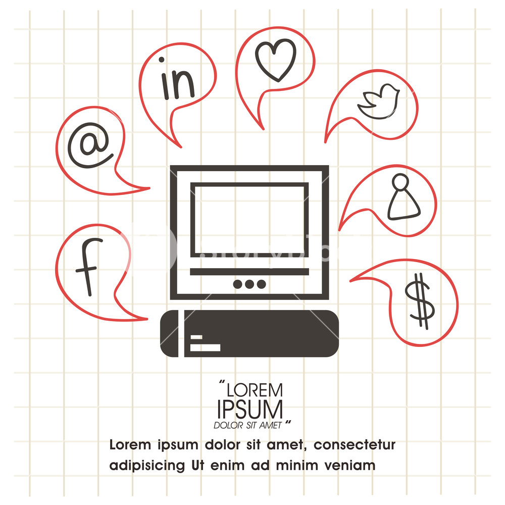 Set of various social media icons, signs or symbols for network communication concept.