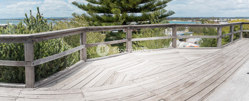 The balcony view from the top of Marlston Hill Lookout Bunbury Western Australia WA with lighthouse