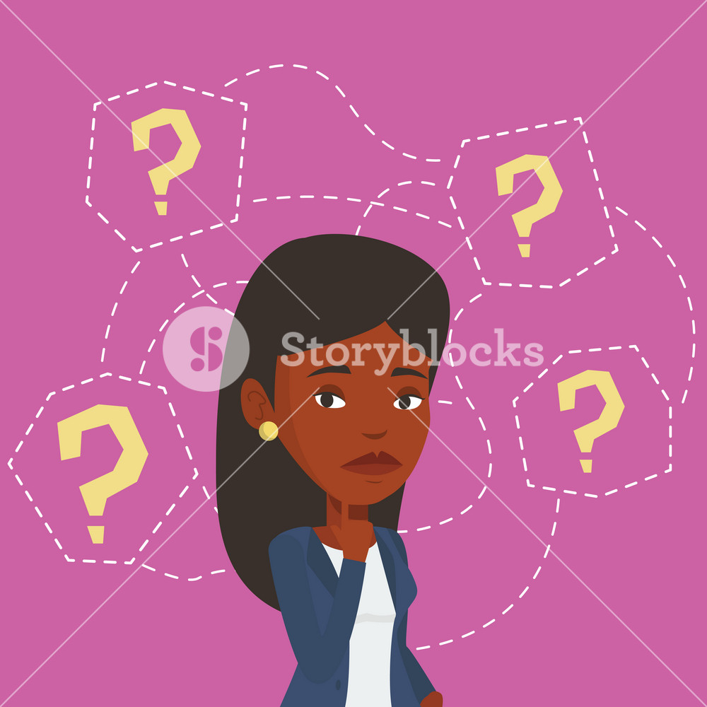 Thinking business woman standing under question marks. Young african-american business woman thinking. Thinking woman surrounded by question marks. Vector flat design illustration. Square layout.