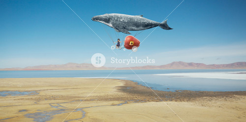 Travel concept. Whale floats in the sky and carrying a happy sister  with fantasy apple bike .