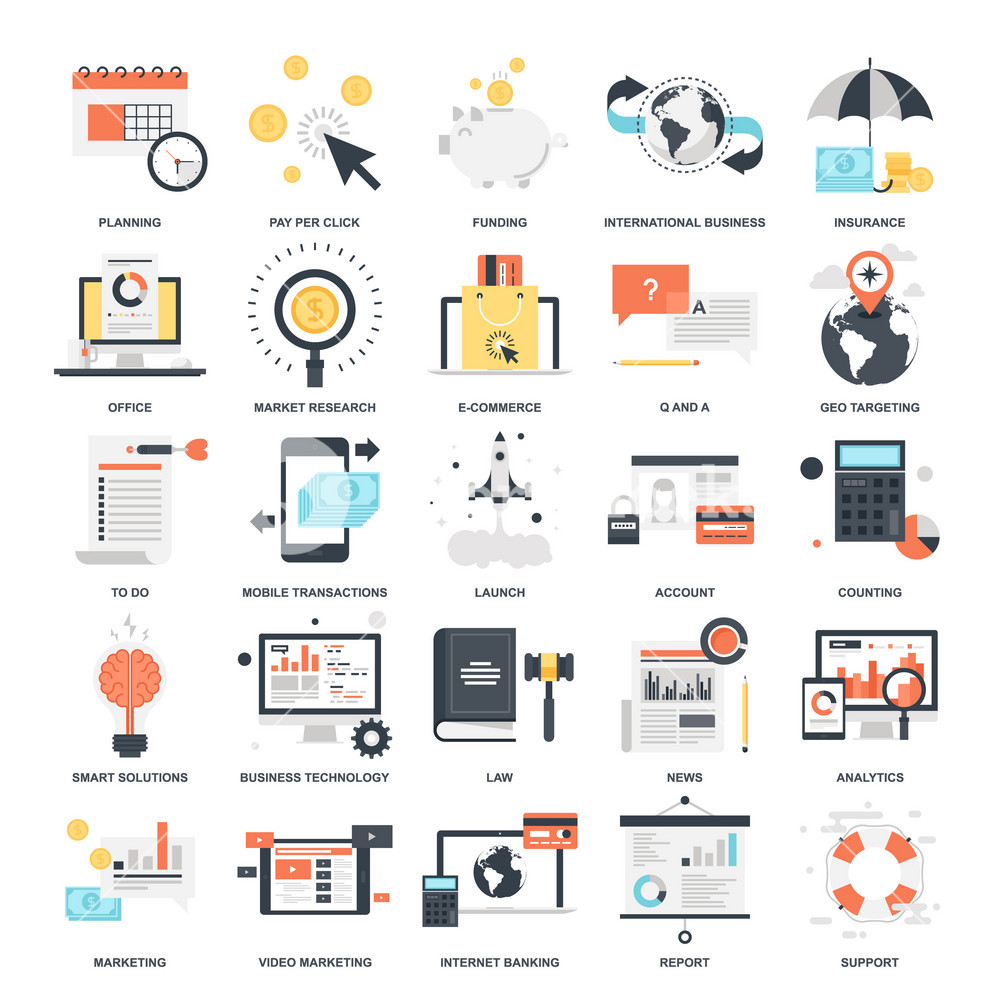 Vector set of business and finance flat web icons. Illustration graphic design concepts. Modern flat icon style. Symbols for mobile and web graphics. Logo creative concepts