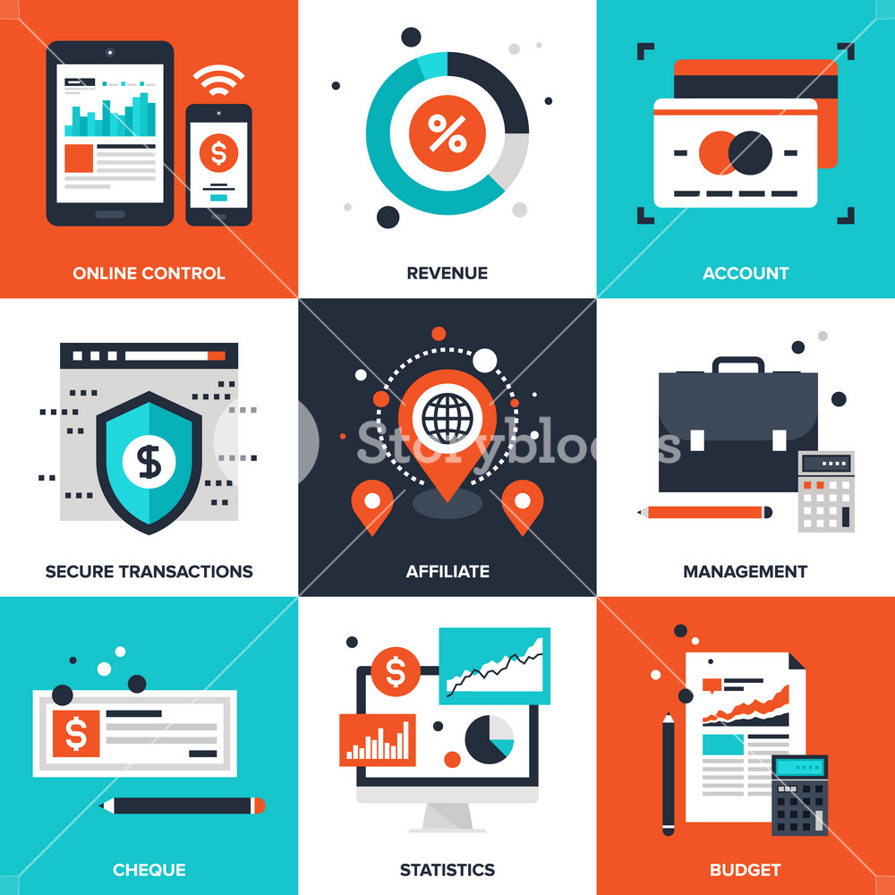 Vector set of flat banking and finance icons on following themes - online control