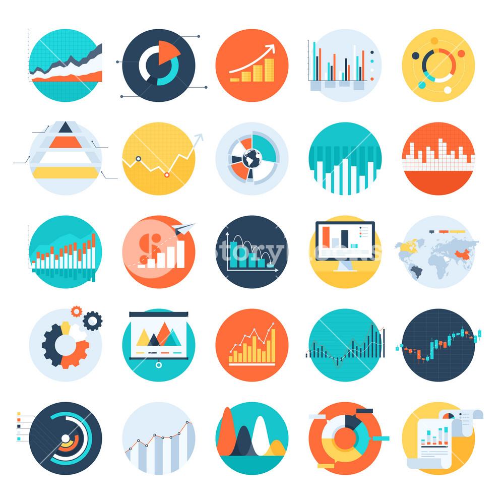 Vector set of flat business chart icons