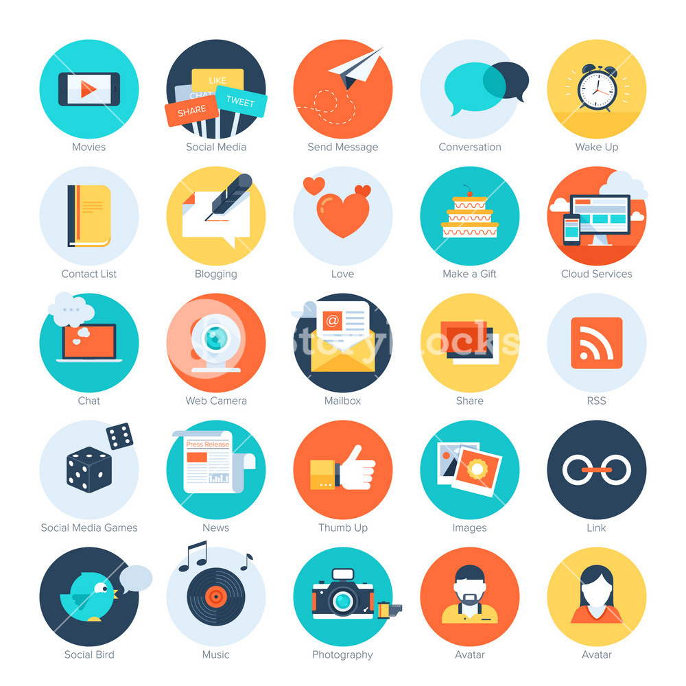 Vector set of modern flat and colorful social media icons. Design elements for web and mobile applications.