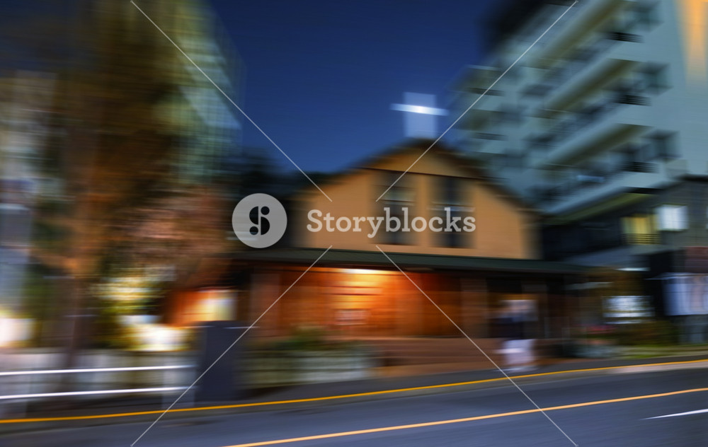 View from Side of way,night scene,blurred motion