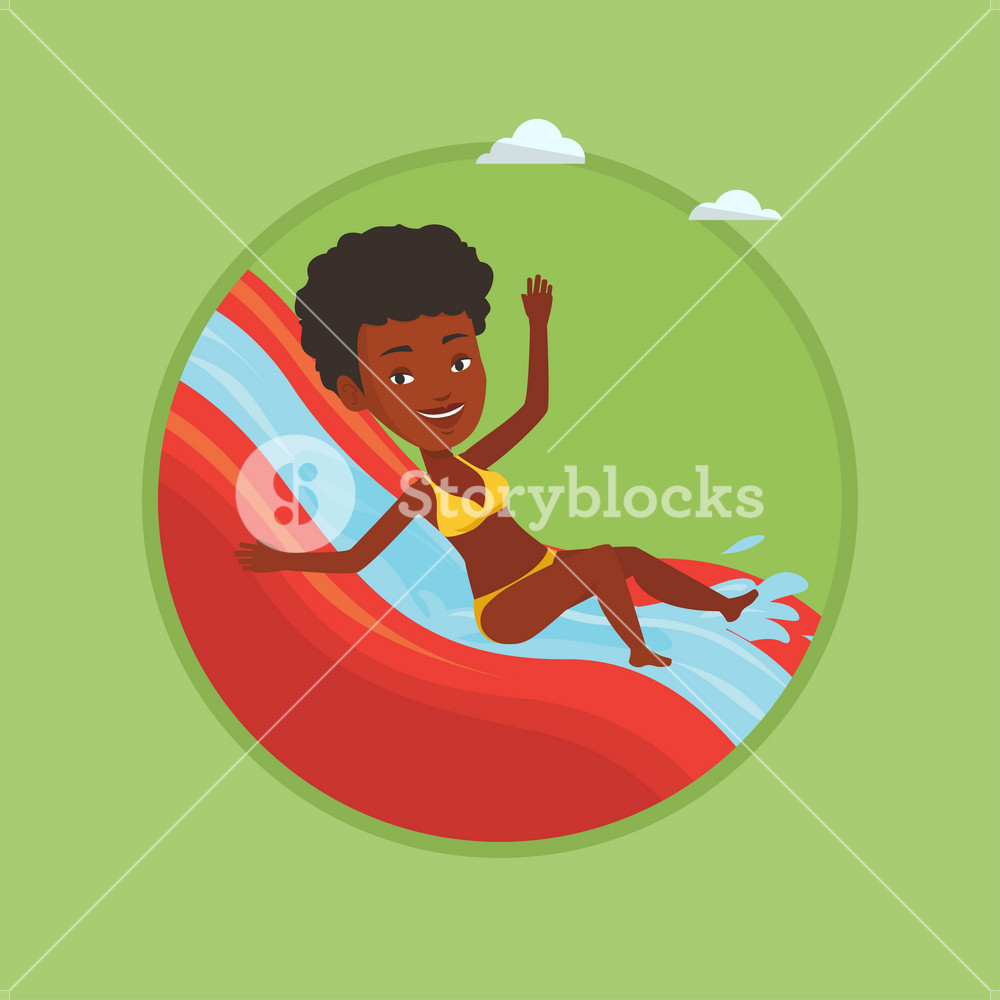 Woman riding down a water slide at the aquapark. Woman having fun on a water slide in waterpark. Girl going down a water slide. Vector flat design illustration in the circle isolated on background.