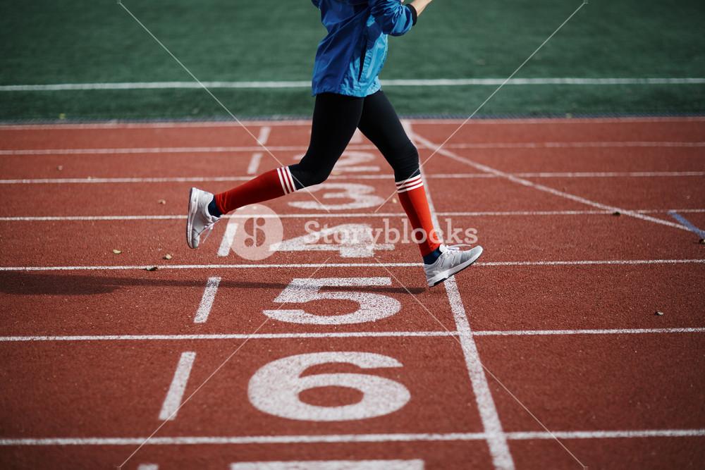 Woman training in the stadium