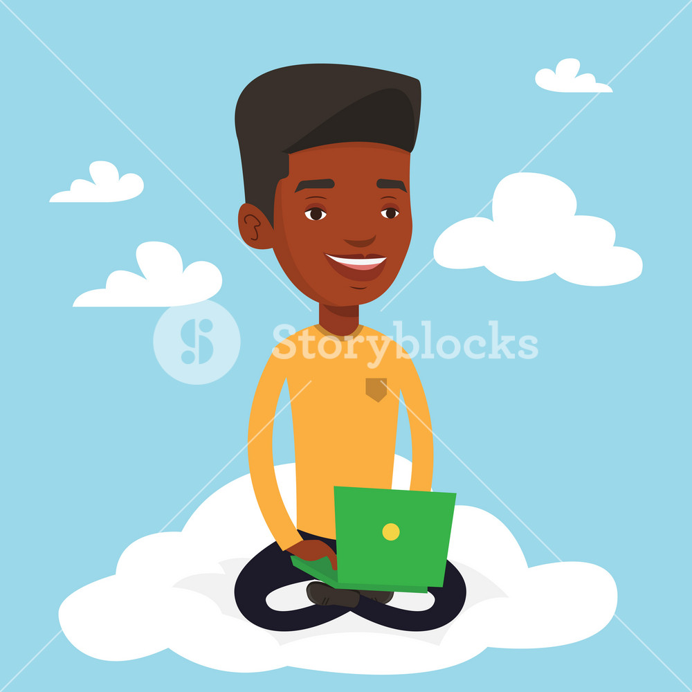 Young african-american man sitting on a cloud with laptop. Man using cloud computing technology. Man working on a computer. Concept of cloud computing . Vector flat design illustration. Square layout.