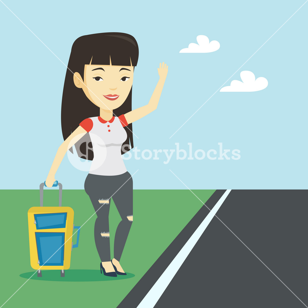 Young asian woman with suitcase hitchhiking on roadside. Hitchhiking woman trying to stop a car on a highway. Woman catching taxi car by waving hand. Vector flat design illustration. Square layout