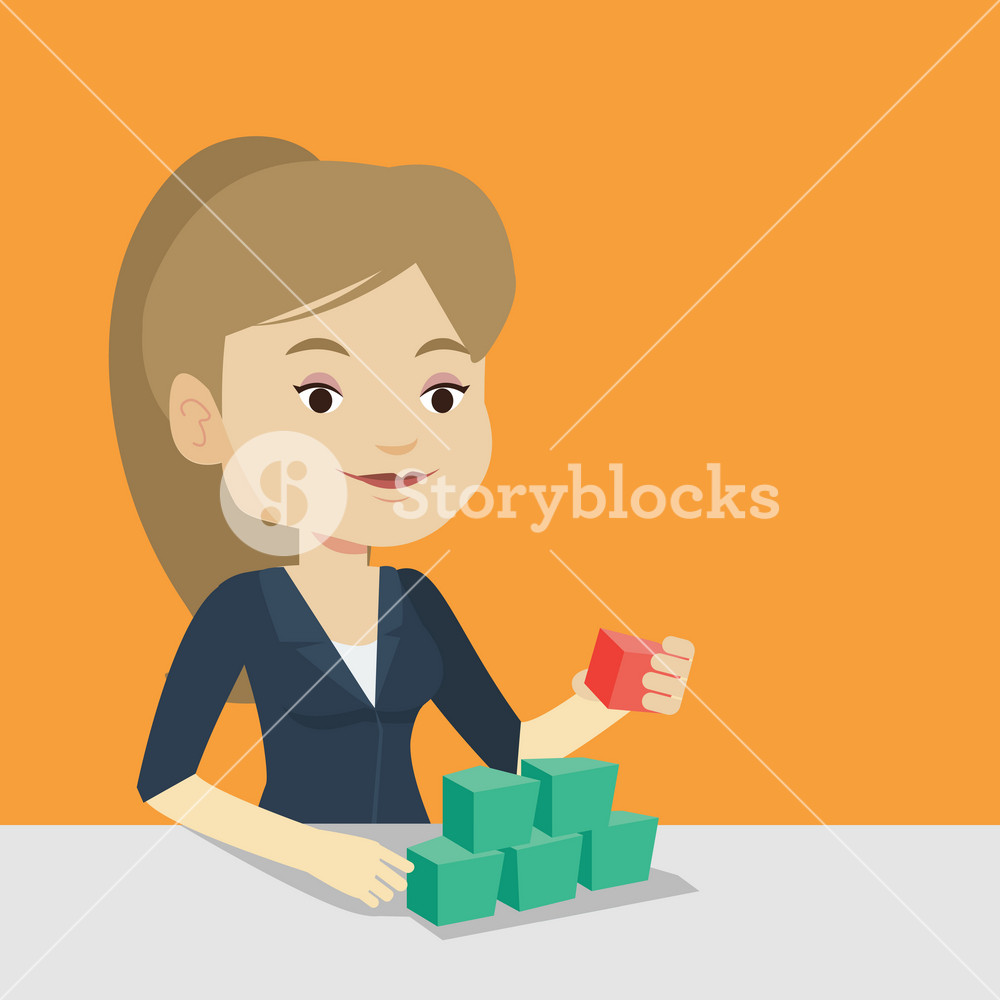 Young caucasian woman making pyramid of network avatars. Smiling woman building her social network. Networking and communication concept. Vector flat design illustration. Square layout.