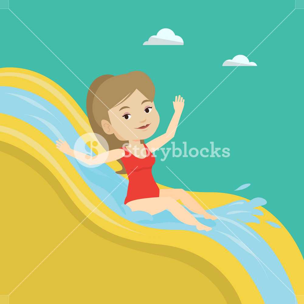 Young caucasian woman riding down a water slide at the aquapark. Happy woman having fun on a water slide in waterpark. Girl going down a water slide. Vector flat design illustration. Square layout.