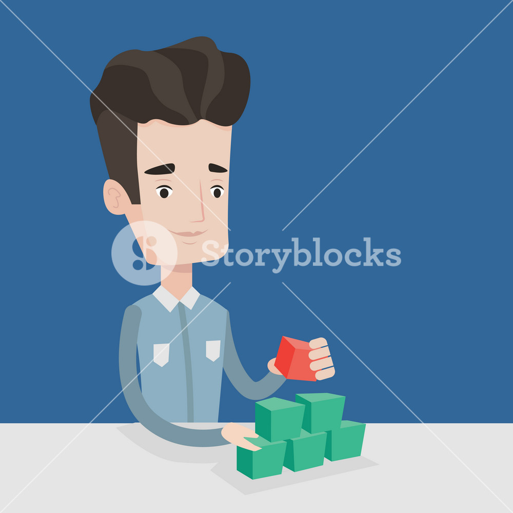 Young man making pyramid of network avatars. Smiling caucasian man building his social network. Networking and communication concept. Vector flat design illustration. Square layout.