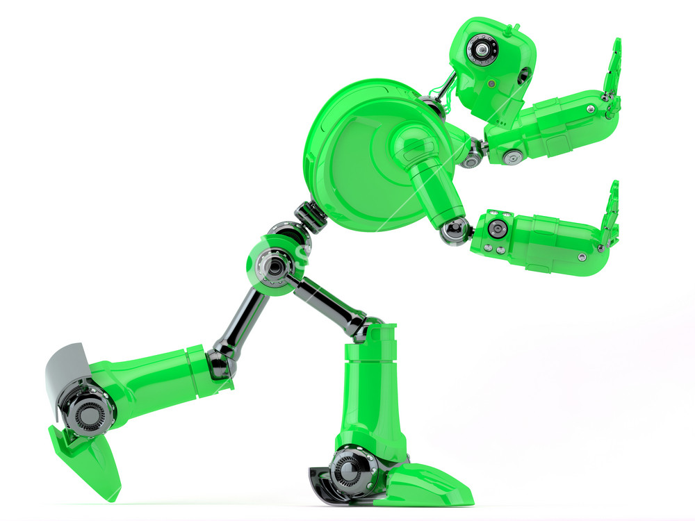Green Robot Pushing An Invisible Object