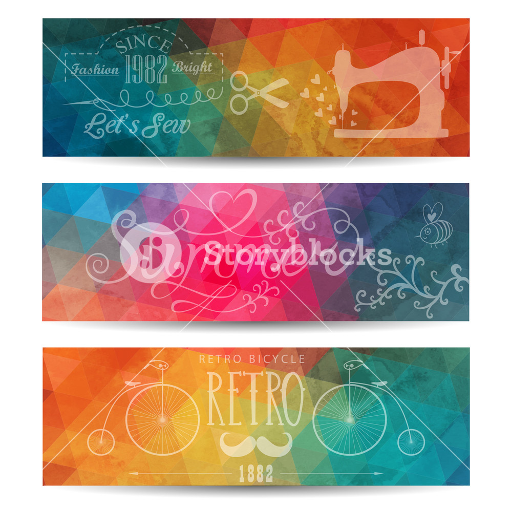 Grunge Vector Banner. Abstract Header Vector Background. Triangle Seamless Banners. Retro Label Design. Geometric Shapes. You Can Place Your Message Above Triangles Rectangle. Grunge.