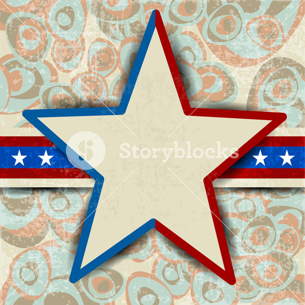 Grungy Textured Background With American Flag Star.