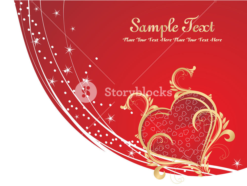 Halftone Background With Red Heart
