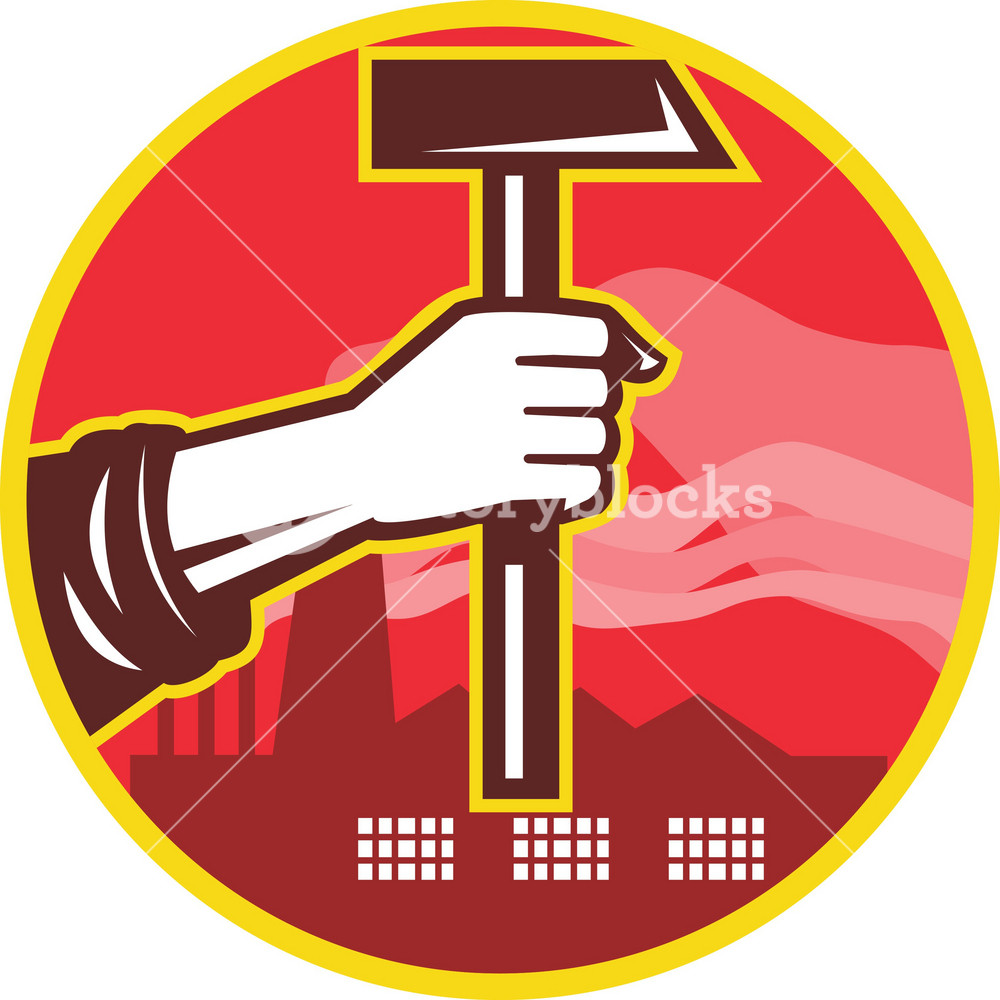 Hand Holding Hammer Factory Retro