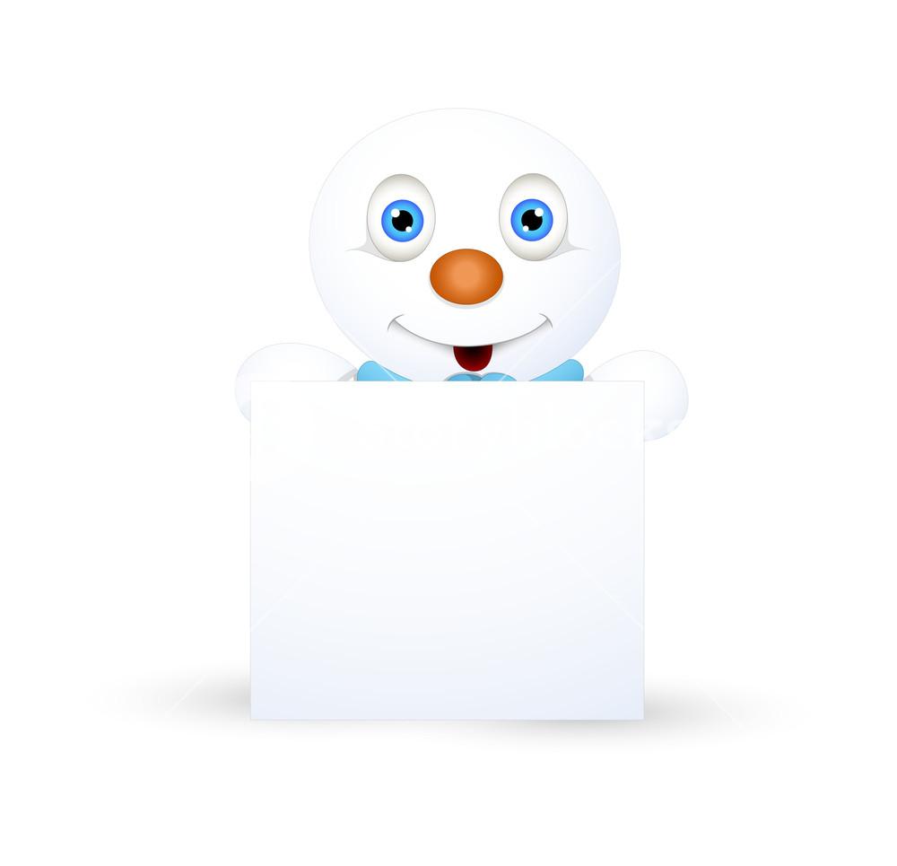 Happy Cute Snowman With Blank Board