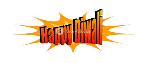 Happy Diwali Retro Graphic Text Banner
