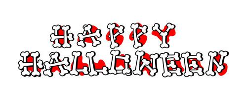 Happy Halloween Text Made From Bones Banner