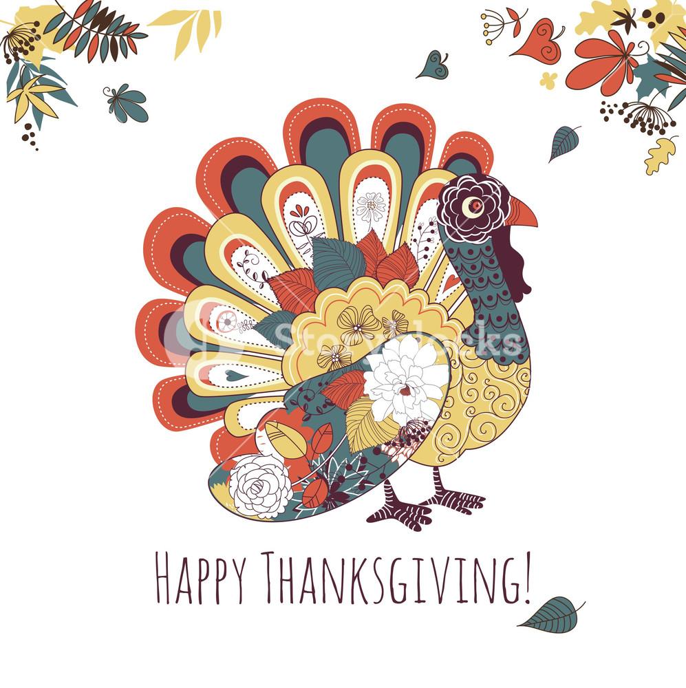 Happy Thanksgiving Beautiful Turkey Card Royalty Free Stock Image Storyblocks