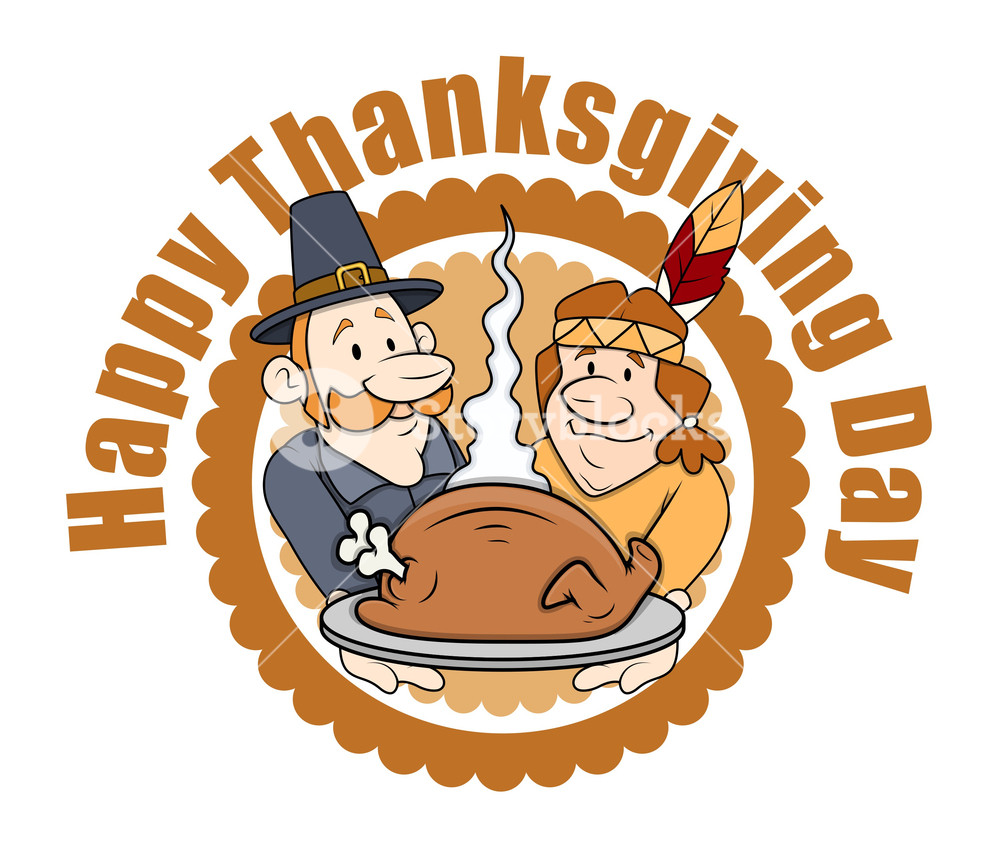 Happy Thanksgiving Day Cartoon People Graphics Royalty Free Stock Image Storyblocks